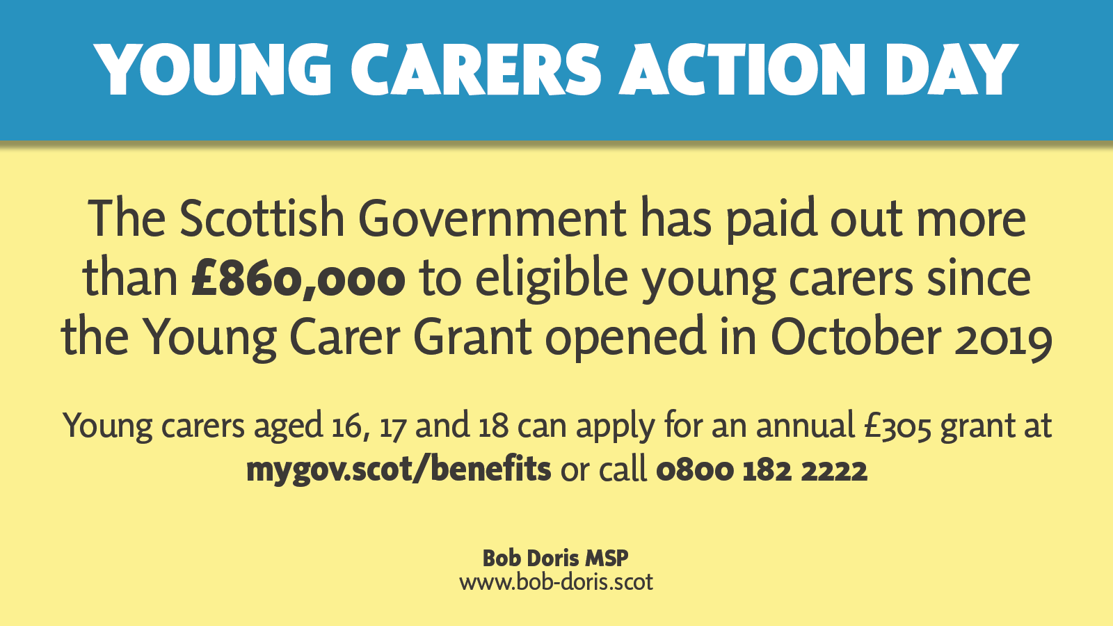 "Graphic that says ""The Scottish Government has paid out more than £860,000 to eligible young carers since the Young Carer Grant opened in October 2019"""